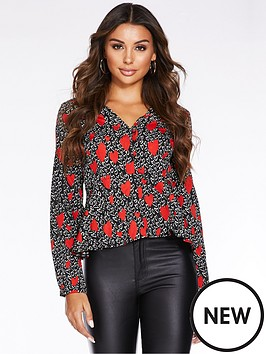 quiz-quiz-navy-spot-wrap-frill-sleeve-wrap-blouse