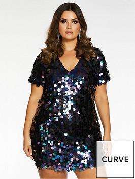 quiz-curve-quiz-curve-disco-sequin-with-plain-back-tunic-dress