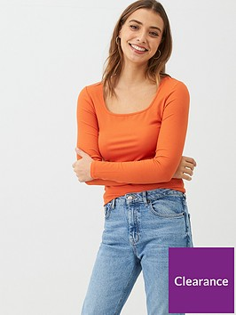 v-by-very-the-essential-square-neck-long-sleeve-rib-top-orange