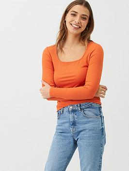 V by Very V By Very The Essential Square Neck Long Sleeve Rib Top - Orange Picture