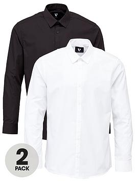 V by Very V By Very 2 Pack Long Sleeved Easycare Shirts - White Picture