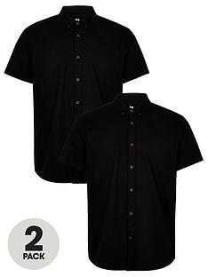 v-by-very-2-pack-short-sleeved-button-down-oxford-shirt-black