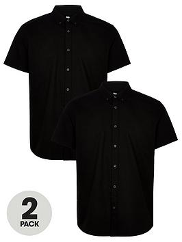 V by Very V By Very 2 Pack Short Sleeved Button Down Oxford Shirt - Black Picture