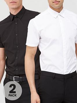 very-man-2-pack-short-sleeved-easycare-shirts-white