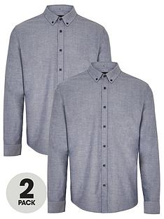 very-man-two-pack-long-sleeved-button-down-oxford-shirts-chambray