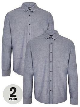 V by Very V By Very Two Pack Long Sleeved Button Down Oxford Shirts -  ... Picture