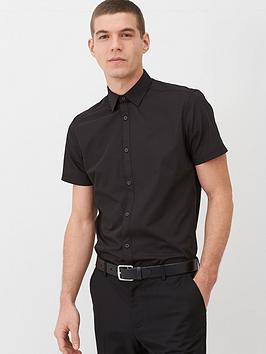 V by Very V By Very Short Sleeved Easycare Shirt - Black Picture