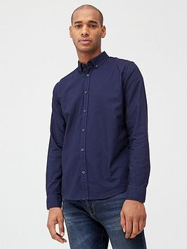 V by Very V By Very Long Sleeved Button Down Oxford Shirt - Navy Picture