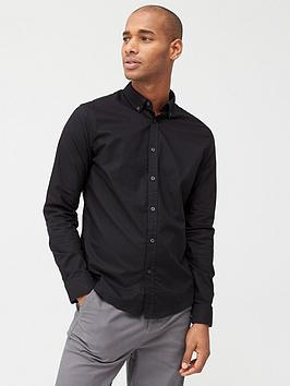 V by Very V By Very Long Sleeved Button Down Oxford Shirt - Black Picture
