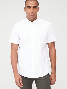V by Very V By Very Short Sleeved Button Down Oxford Shirt - White Picture