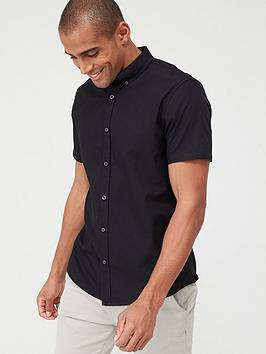 V by Very V By Very Short Sleeved Button Down Oxford Shirt - Black Picture