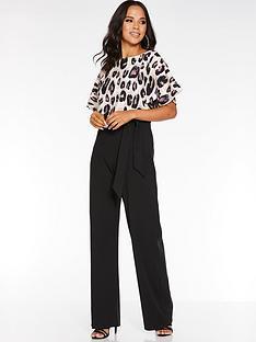 quiz-quiz-animal-print-batwing-belted-jumpsuit
