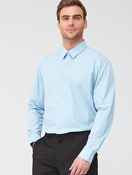 V by Very V By Very Long Sleeved Easycare Shirt - Blue Picture