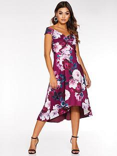 quiz-quiz-berry-floral-bardot-knot-dip-hem-dress