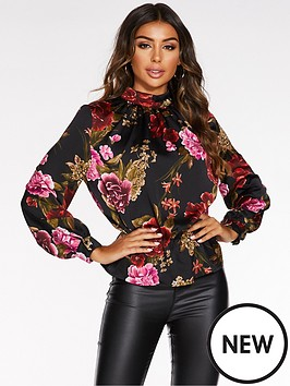 quiz-satin-floral-high-neck-peplum-top