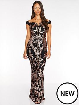 quiz-sequin-bardot-fishtail-maxi-dress