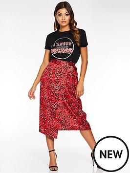 quiz-satin-mixed-animal-print-wrap-skirt