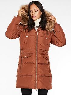 quiz-quiz-padded-34-length-hooded-fur-trim-jacket