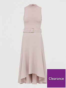 ted-baker-midi-dress-with-dip-hem-fluted-skirt-pink