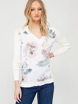 ted-baker-kaylaaa-woodland-woven-front-jumper-white