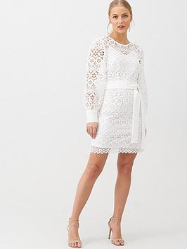 V By Very Lace Balloon Sleeve Tie Mini Dress - White