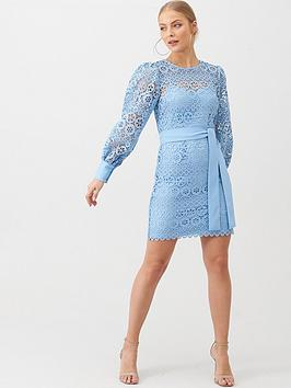 V by Very V By Very Lace Balloon Sleeve Tie Mini Dress - Blue Picture