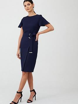 V by Very V By Very Angel Sleeve Pencil Dress - Navy Picture