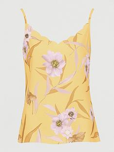 ted-baker-cabana-printed-scalloped-top-yellow