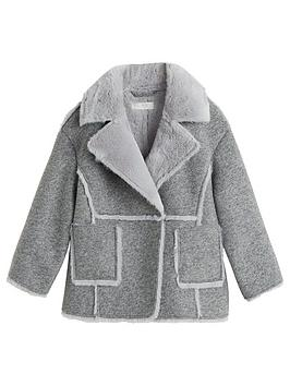 Mango Mango Girls Faux Fur Teddy Coat - Grey Picture