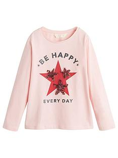 mango-girls-long-sleeve-star-applique-t-shirt-pink