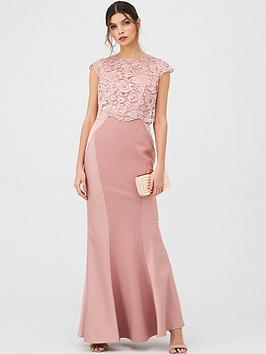 V by Very V By Very Bridesmaid Lace Overlay Maxi Dress - Mauve Picture