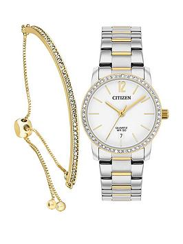 Citizen Citizen Citizen White With Gold Detail Crystal Set Date Dial Two  ... Picture