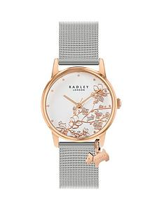 radley-radley-silver-floral-and-rose-gold-detail-dog-charm-dial-stainless-steel-mesh-strap-ladies-watch