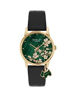 radley-radley-green-mother-of-pearl-floral-dial-with-dog-charm-and-black-leather-strap-ladies-watch