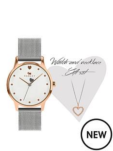 radley-radley-silver-heart-charm-dial-stainless-steel-mesh-strap-ladies-watch-and-silver-crystal-heart-earrings-gift-set