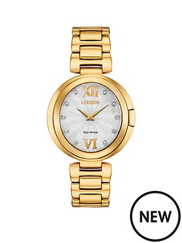 citizen-citizen-eco-drive-mother-of-pearl-and-diamond-dial-gold-stainless-steel-bracelet-ladies-watch