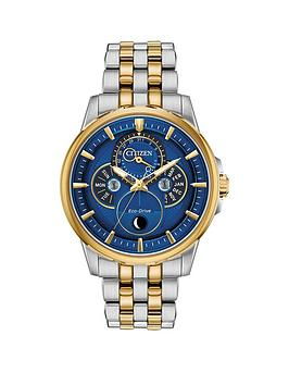 Citizen Citizen Citizen Eco-Drive Moonphase Wr100 Blue And Gold Detail  ... Picture
