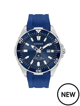 citizen-citizen-eco-drive-promaster-wr200-blue-and-silver-detail-date-dial-blue-silicone-strap-mens-watch