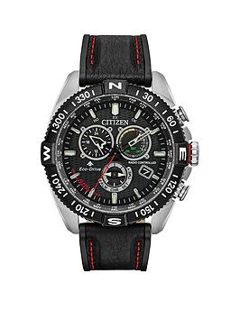 citizen-citizen-eco-drive-promaster-navihawk-black-and-red-detail-chronograph-dial-red-stitched-black-leather-strap-mens-watch