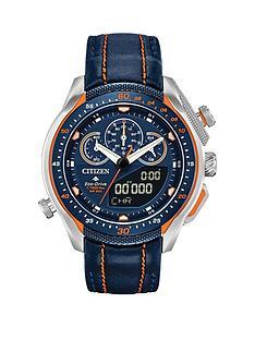 citizen-citizen-eco-drive-promaster-black-and-orange-detail-chronograph-dial-orange-stiched-black-leather-strap-mens-watch