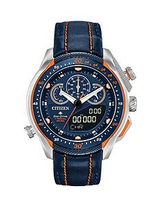 citizen-eco-drive-promaster-black-and-orange-detail-chronograph-dial-orange-stitched-black-leather-strap-mens-watch