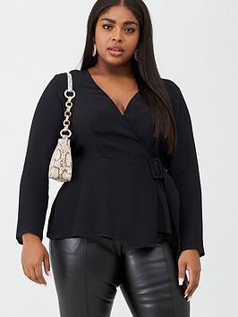 V by Very Curve V By Very Curve Belted Detail Blouse - Black Picture