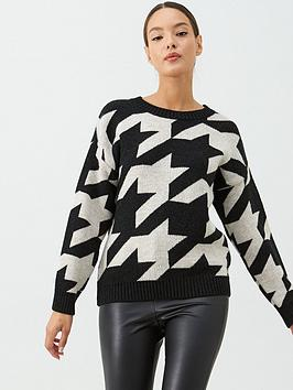 V by Very V By Very Large Dogtooth Printed Jumper - Print Picture