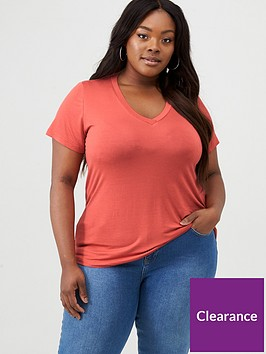 v-by-very-curve-essential-roll-sleeve-vneck-tee-rust