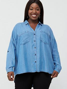 V by Very Curve V By Very Curve Button Through Denim Shirt - Light Wash Picture