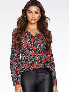 quiz-heart-print-long-sleeve-blouse