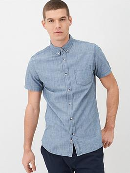 V by Very V By Very Short Sleeve Slub Chambray Shirt - Mid Blue Picture