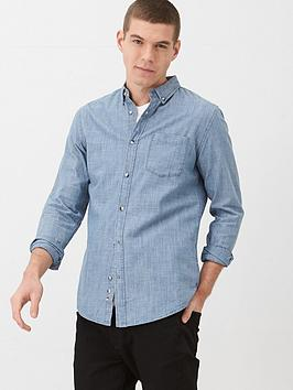 V by Very V By Very Long Sleeved Slub Chambray Shirt - Mid Blue Picture