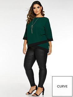 quiz-curve-three-quarter-sleeve-contrast-necklace-top-bottle-green