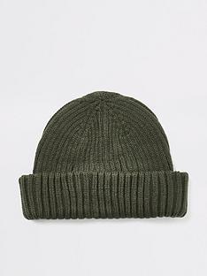 river-island-khaki-knitted-beanie-docker-hat